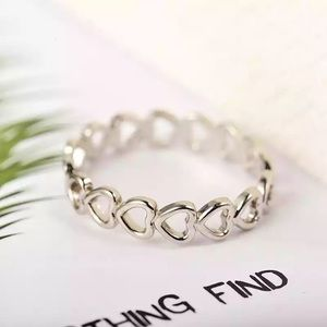 Silver Hollow Heart Ring Adjustable
